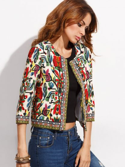 Tribal Print Embroidered Tape Detail Outerwear