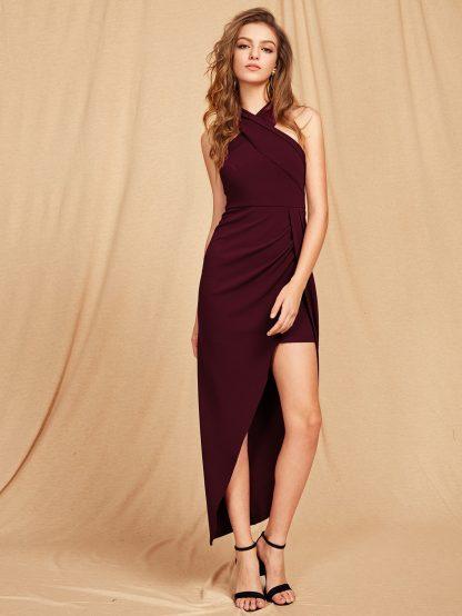 Cross Halterneck Asymmetrical Maxi Dress