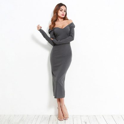Off Shoulder Ribbed Midi Dress