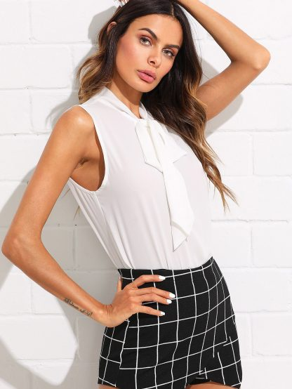 Tie Neck Curved Hem Top