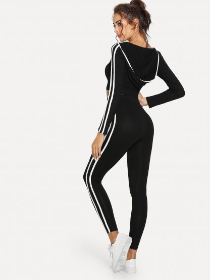 Contrast Striped Side Crop Hooded Top and Leggings Set