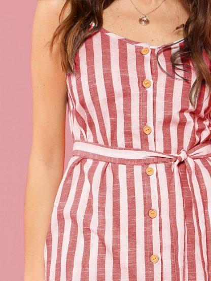 Button Through Self Belt Stripe Cami Dress