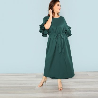 Plus Pleated Ruffle Cuff Self Belted Dress