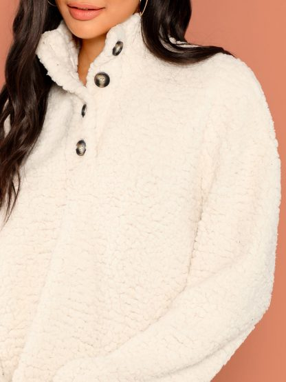 Button Front Teddy Jacket
