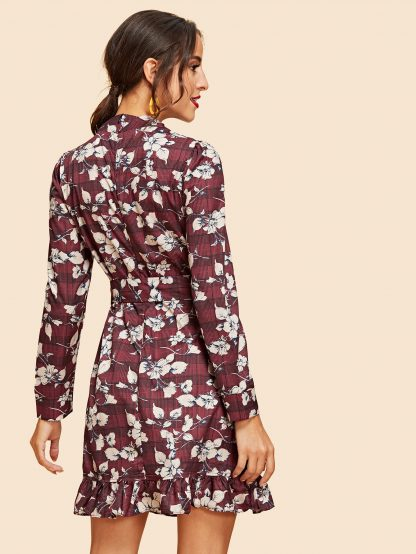 Ruffle Wrap Belted Floral & Plaid Dress
