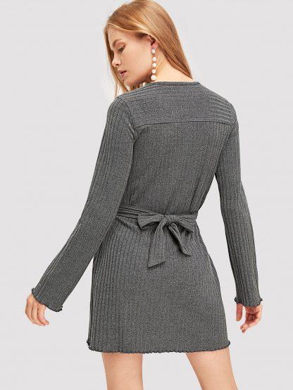 Knot Front Rib Knit Dress
