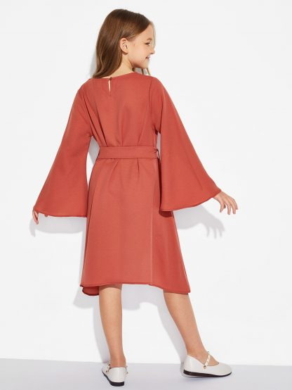 Girls Trumpet Sleeve Solid Dress