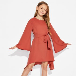 Girls Trumpet Sleeve Solid Dress