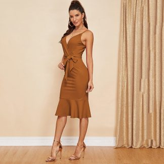 Pephem Belted Surplice Cami Dress