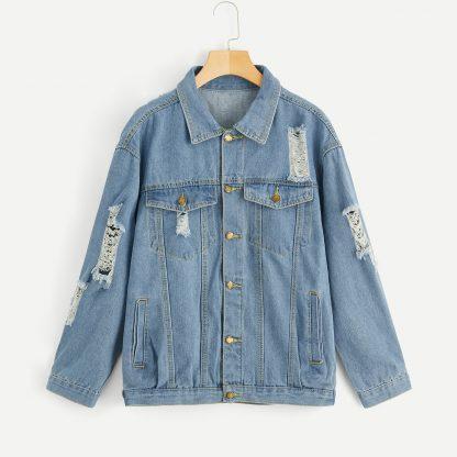 Bleach Wash Ripped Denim Jacket