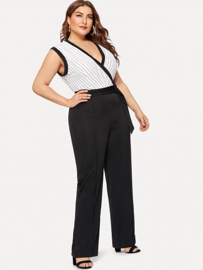 Plus Striped Panel Belted Jumpsuit