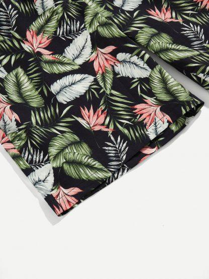 Men Tropical Print Drawstring Waist Shorts