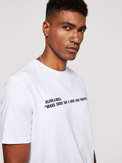 Men Slogan Print Pullover Tee