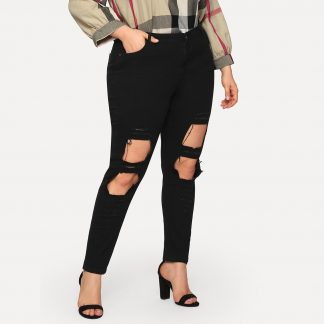 Plus Solid Ripped Skinny Jeans