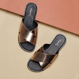 Stud Trim Metallic Overlap Band Slip On Sandals