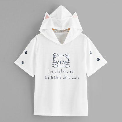 Letter Print Cat Ears Hooded Tee