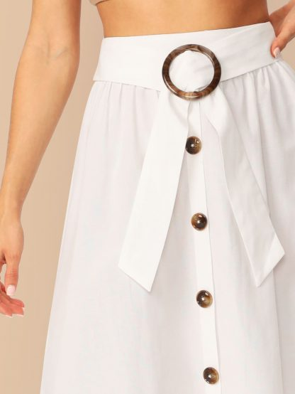 O-ring Belted Buttoned Front Skirt