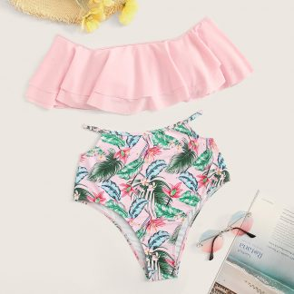 Flounce Top With Random Tropical Cutout Bikini Set
