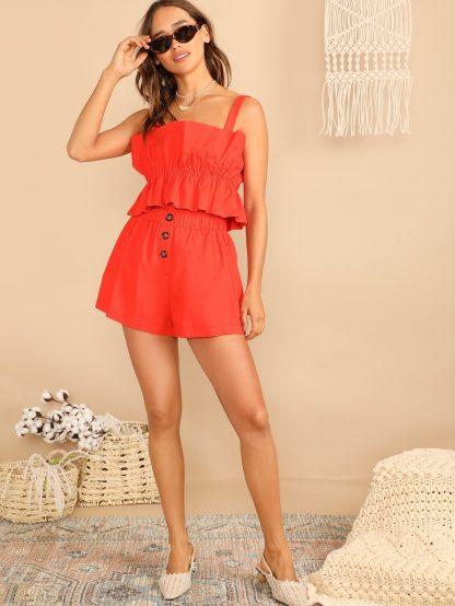 Neon Orange Elasticized Ruffle Top & Button Fly Shorts Set