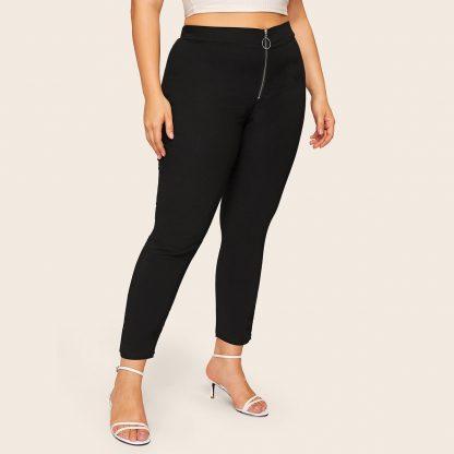 Plus Zipper Solid Skinny Jeans
