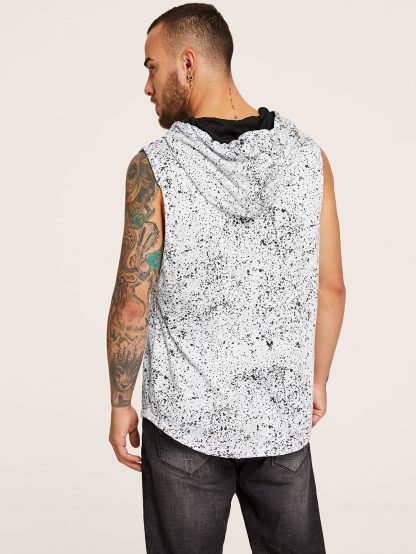 Men Paint Splatter Pattern Hooded Tee