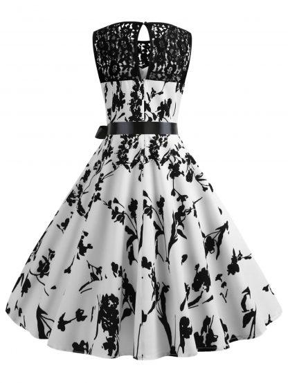 50s Lace Panel Floral Print Circle Dress