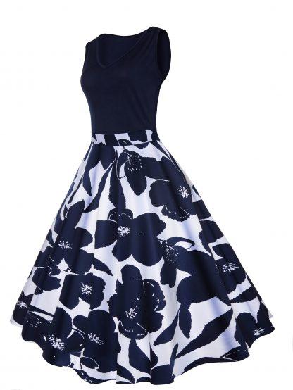 50s Floral Print Circle Dress