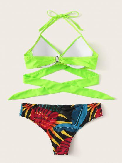 Neon Lime Wrap Top With Random Tropical Bikini