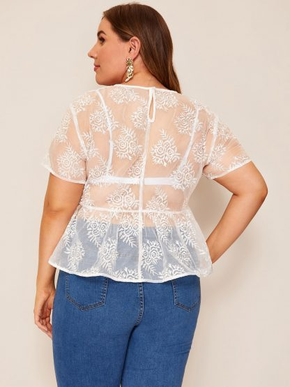 Plus Keyhole Back Embroidered Organza Peplum Top