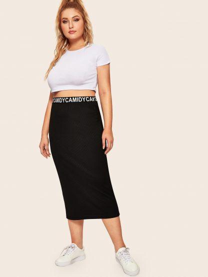 Plus Lettering Waist Rib-knit Skirt