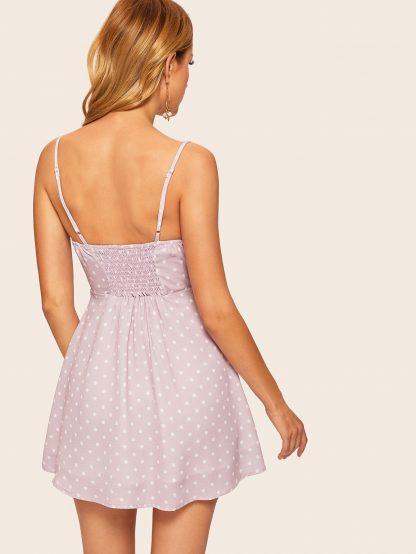 Button Through Knot Polka Dot Cami Dress
