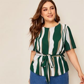Plus Striped Self Belted Top