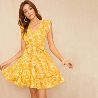Floral Print Ruffle Hem Self Tie Dress