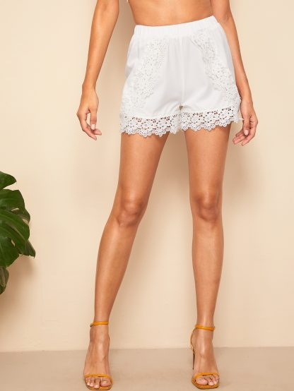 Elastic Waist Guipure Lace Shorts