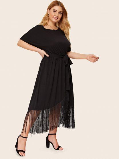 Plus Fringe Trim Wrap Hem Belted Dress