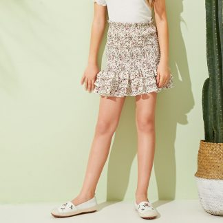 Girls Frill Detail Layered Ruffle Hem Shirred Skirt