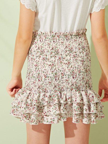 Girls Frill Detail Layered Ruffle Hem Shirred Skirt