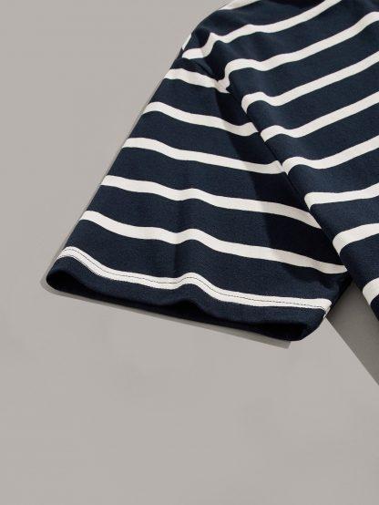 Men Contrast Neck Striped Tee