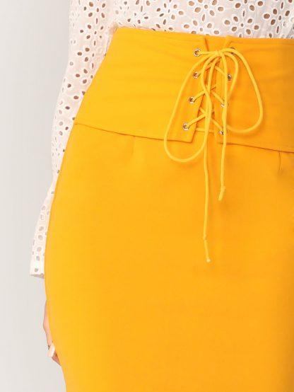 Grommet Lace Up Waist Split Hem Pencil Skirt