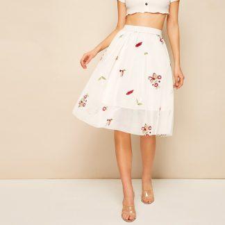 Embroidered Mesh Overlay Flared Skirt