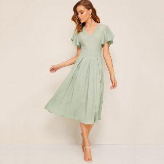 Flutter Sleeve Lace Insert Fold Pleated Dress