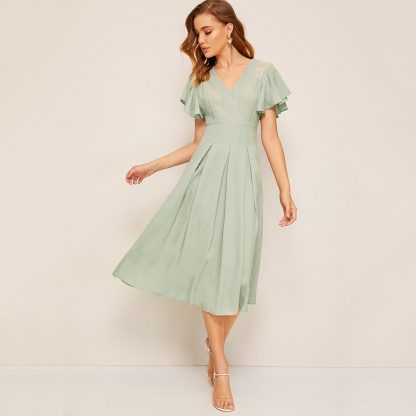 Flutter Sleeve Lace Insert Fold Pleated Dress