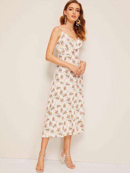 Flower Print Ruffle Trim Wrap Slip Dress