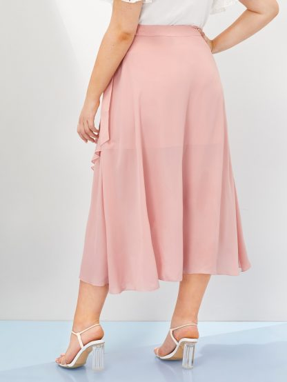 Plus Solid Asymmetrical Wrap Knotted Skirt