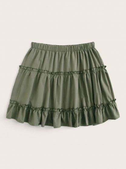 Plus Ruffle Hem lettuce Frill Skirt