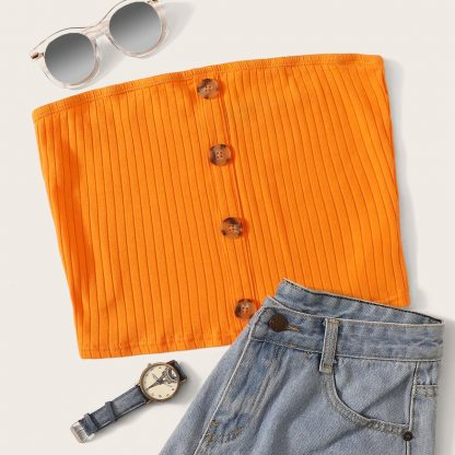 Neon Orange Button Up Ribbed Bandeau Top
