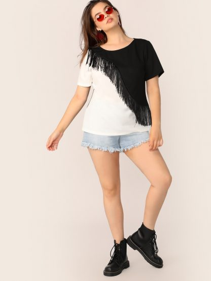 Plus Fringe Detail Two Tone Top