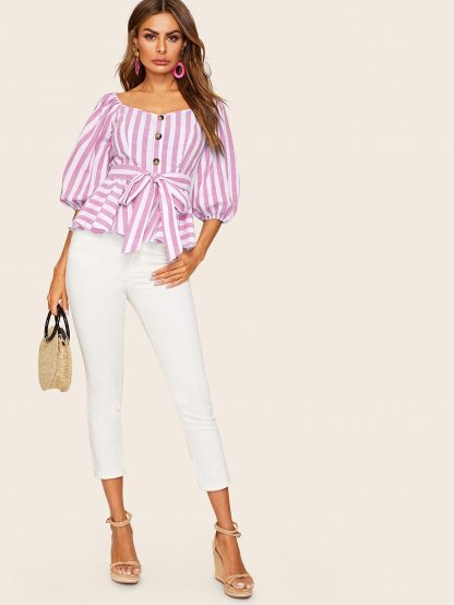 Button Front Lantern Sleeve Striped Peplum Top