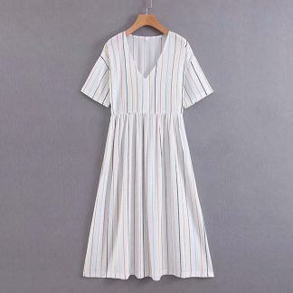 Stripe Print V-neck Flared Dress