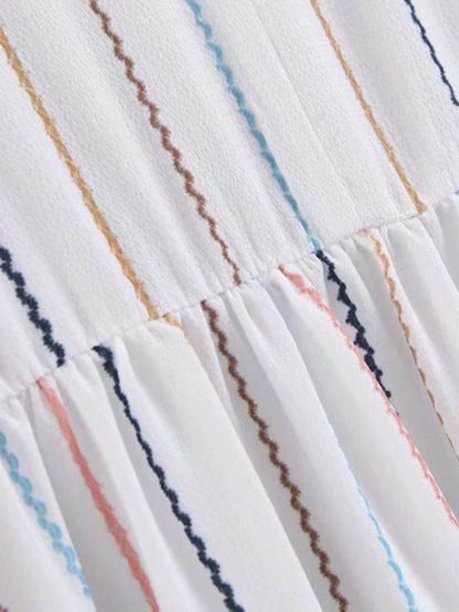 Stripe Print V-neck Flared Dress